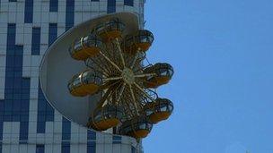 The Ferris wheel incorporated into a high rise building in Batumi, Georgia.