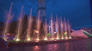 Batumi's dancing fountains in tune to the music.