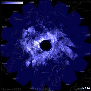 Satellite image of noctilucent cloud data