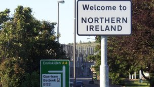 Welcome to Northern Ireland road sign