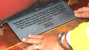 A plaque, which will be embedded into the fabric of HMS Queen Elizabeth