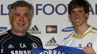 Carlo Ancelotti and Fernando Torres
