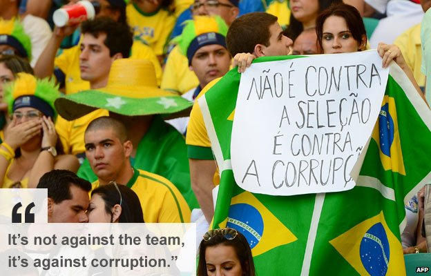 Brazil supporter at Confederations Cup match holds up banner against corruption 22 June