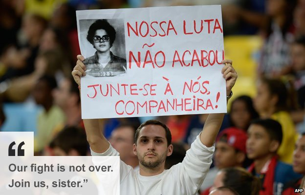 Protester calls on President Dilma to join the demonstrations, 20 June, Rio de Janeiro