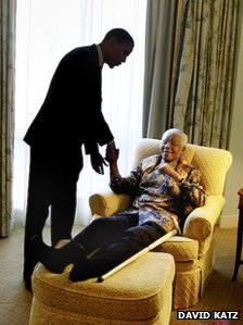 Senator Barack Obama and Nelson Mandela in 2005