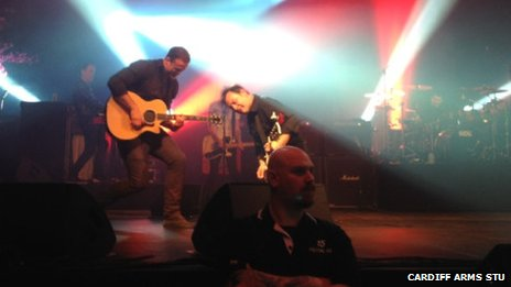 Jamie Roberts joins James Dean Bradfield of the Manic Street Preachers on stage