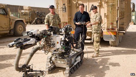 David Cameron controlling a robot at Camp Bastion