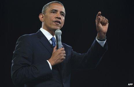 US President Barack Obama speaks at the University of Johannesburg, 29 June