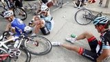 Riders crash on the first stage at the Tour de France