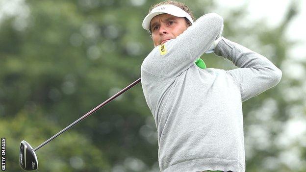 Joost Luiten drives during the third round