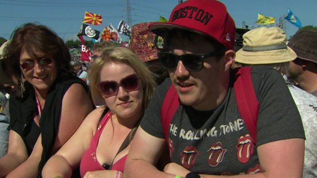 Rolling Stones fans at the front of the Glastonbury crowd