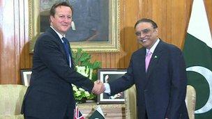 David Cameron and President Asif Ali Zardari