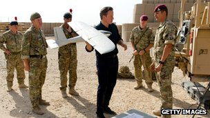David Cameron with an unmanned surveillance aircraft
