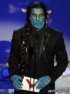 Ben Stiller dressed as a Na'vi at the Oscars