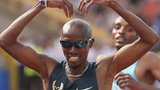 Mo Farah celebrates his win