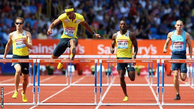 Javier Culson wins the Mens 400m Hurdles during the Sainsbury's Grand Prix Birmingham IAAF Diamond League at Alexander Stadium