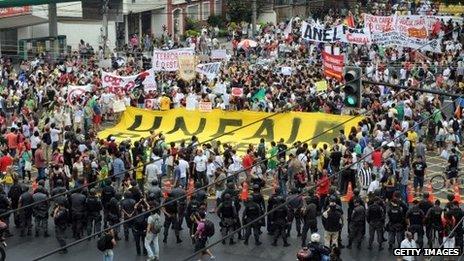 Protest near Maracana Stadium, Rio de Janeiro (30 June)