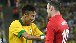 Neymar and Wayne Rooney at last month's friendly between Brazil and England