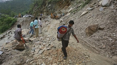 Floods have damaged many roads in Uttarakhand state