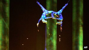 "Sarah Guyard-Guillot, left, and Sami Tiaumassi perform during Cirque du Soleil""s ""Ka"" at the MGM Grand, 2008"