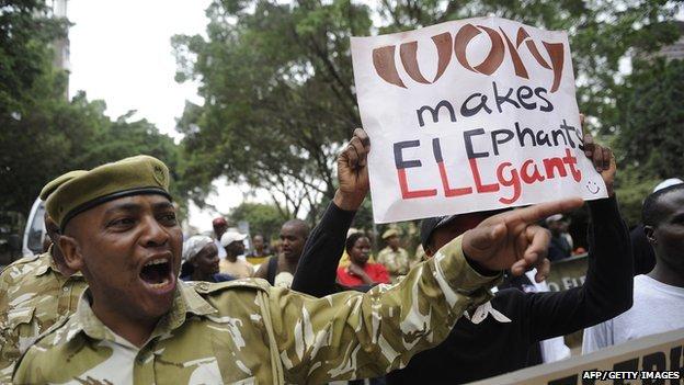 Kenya Wildlife Service rangers carrying placards in Nairobi