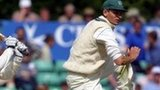 David Leatherdale takes evasive action from Australian batsman Damien Martyn