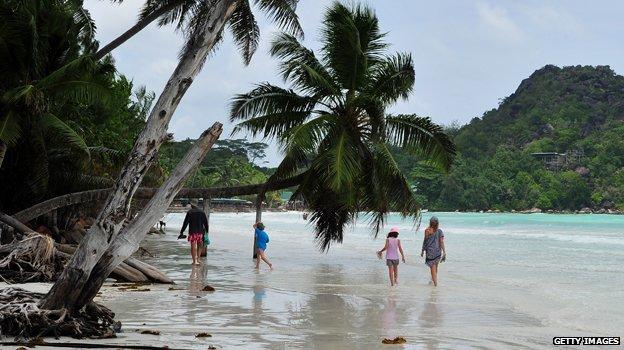 Seychelles beach scene