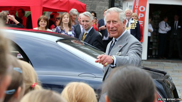 Prince Charles arrives in Llandovery for his first visit of the day.