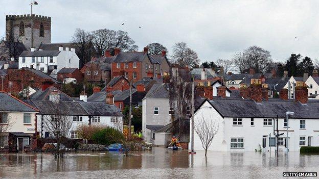 Flooding in St Asaph, Denbighshire, in November 2012