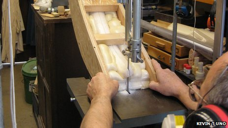 Cutting a tusk in preparation for sampling