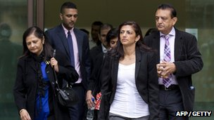 The father, mother, brother and sister of Anni Dewani, who was murdered while on honeymoon in Cape Town in 2011, leave Westminster Magistrates Court