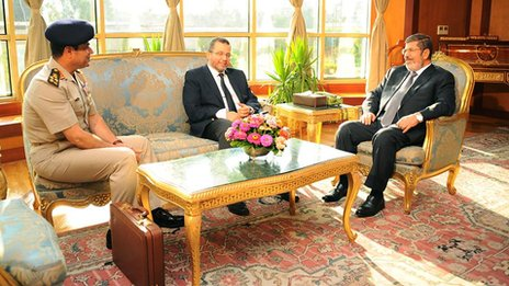 Gen Abdel Fattah al-Sisi, the head of Egypt's armed forces, left, Prime Minister Hisham Qandil and President Mohammed Morsi