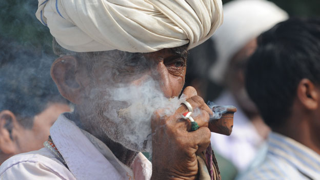 Smoking a hookah in Gujarat