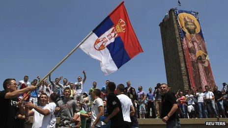 Kosovo Serbs gather to mark the anniversary of the 1389 Battle of Kosovo at Gazimestan