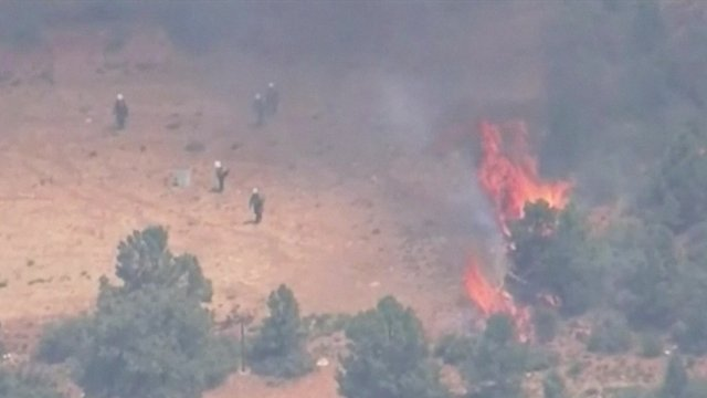 People near a wildfire