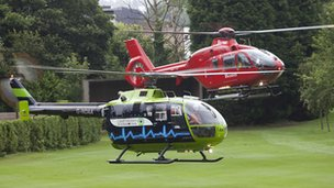 Image of Great Western Air Ambulance current helicopter alongside the model they are hoping to upgrade to.