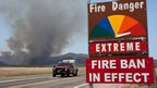 Fire engine moves along Hays Ranch Road in Yarnell (30 June 2013)