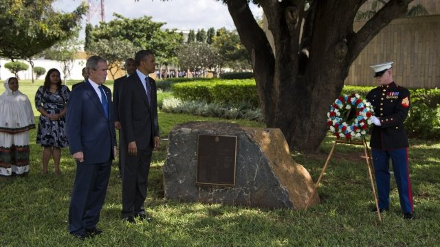 President Obama and former President Bush at wreath laying ceremony