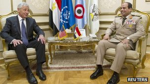 Gen Sisi with US Defence Secretary Chuck Hagel