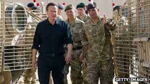 David Cameron meets British troops on his recent visit to Afghanistan