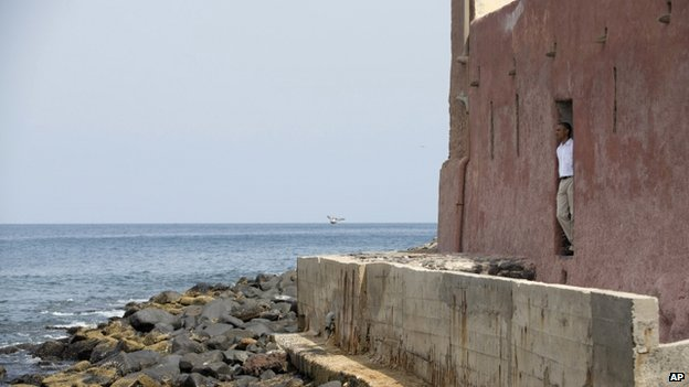 "President Barack Obama looks out of the ""door of no return"" during a tour of Goree Island - Thursday 27 June 2013"