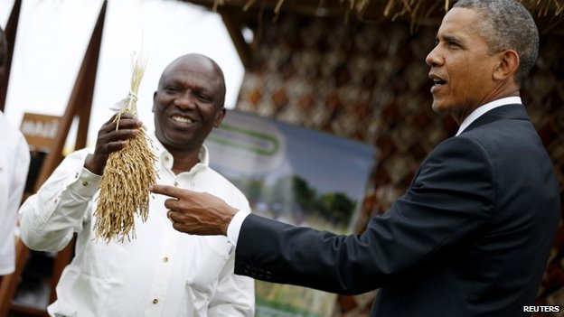 US President Barack Obama points to a rice crop before it is processed as he visits a food security expo in Dakar 28 June 2013