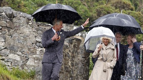 The Prince of Wales and Duchess of Cornwall at St Beunos Church, Pistyll, Pwllheli