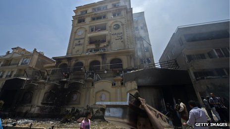 Burnt Muslim Brotherhood building