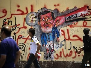 Graffiti depicting Mohammed Morsi (1 July 2013)