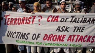 Pakistani tribal villagers in Islamabad hold a rally to condemn US drone attacks on their villages in border areas along the Afghan border (December 2010)