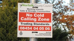 A sign in Norfolk warning against cold calling