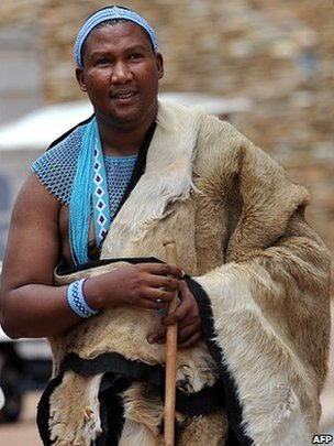 Mandla Mandela, the grandson of Nelson Mandela dressed in the traditional garb of his ethnic group, the Xhosa, attends a gathering of traditional leaders