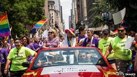 Edie Windsor, who brought the Doma case to the Supreme Court, celebrates at the New York Gay Pride march