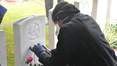 An engraver at work